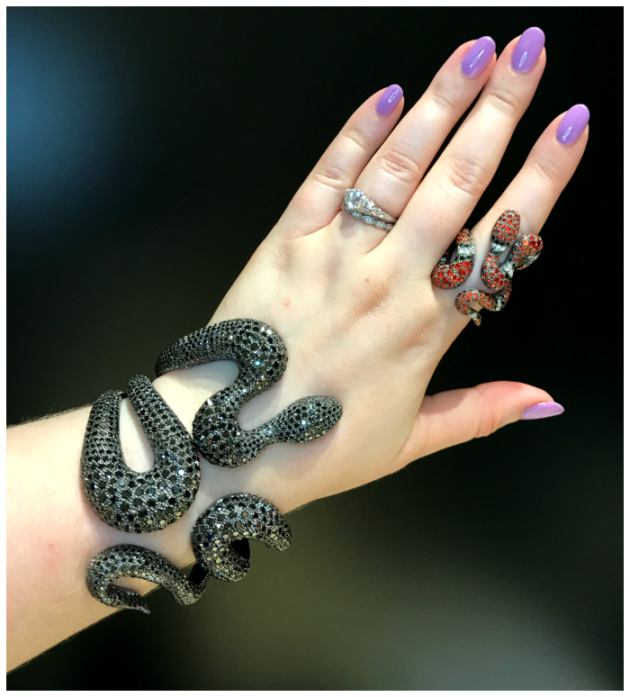 Beautiful and badass snake jewels by Mattioli - the bracelet is black diamonds and the snake is diamonds and colored gems!