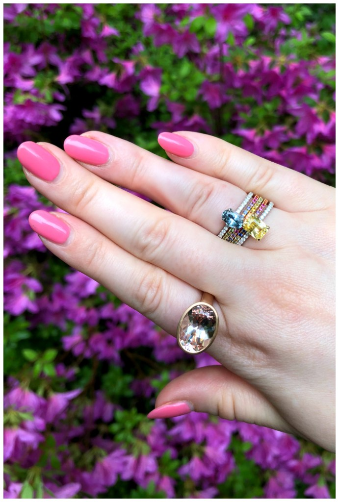 Beautiful rings by Kimberly Collins Gems! Colorful sapphires and a big juicy morganite.