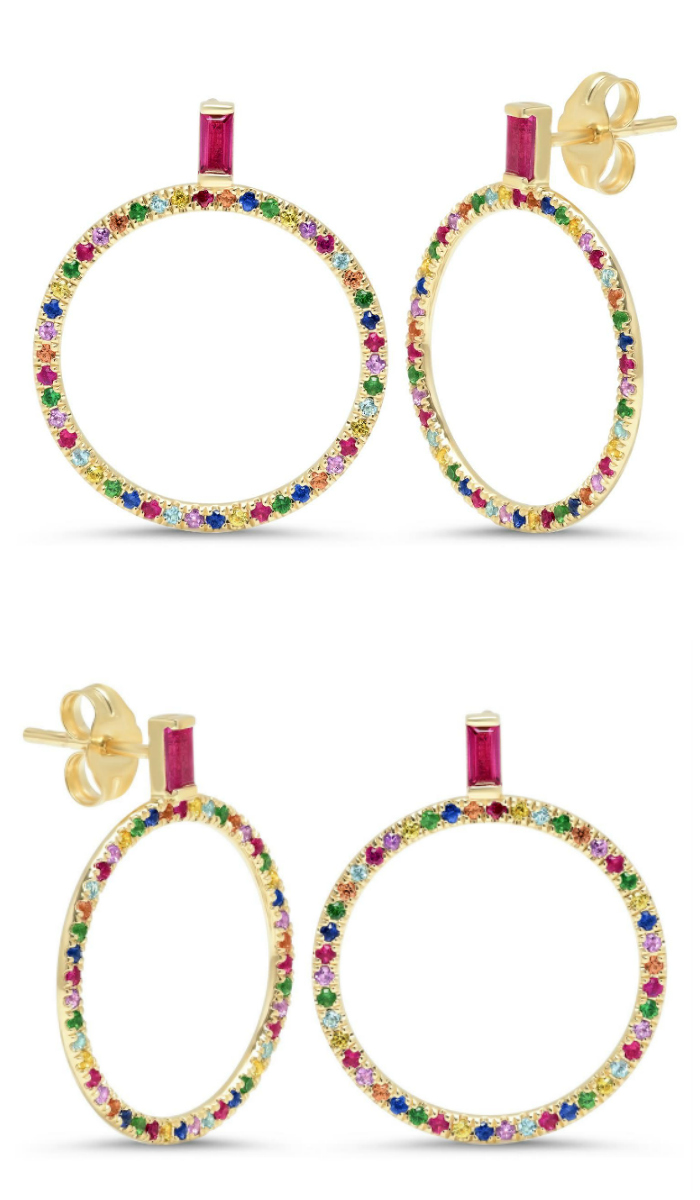 I love these fabulous rainbow earrings by Eriness, with gemstones in gold!