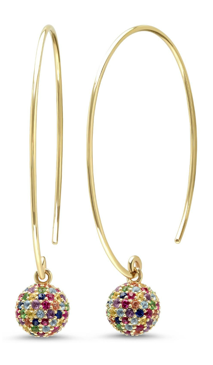 I love these rainbow disco ball hoop earrings by Eriness, with gemstones in gold!