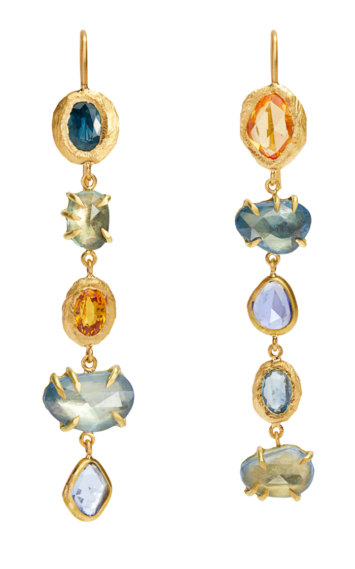 Long and lovely colored gemstone earrings by Page Sargisson.