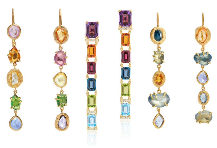 Long and lovely rainbow gemstone earrings by Goshwara and Page Sargisson