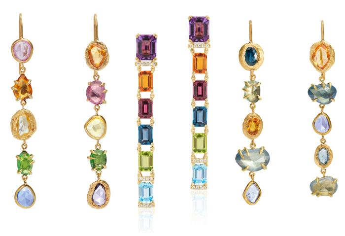 Long and lovely rainbow gemstone earrings by Goshwara andPage Sargisson