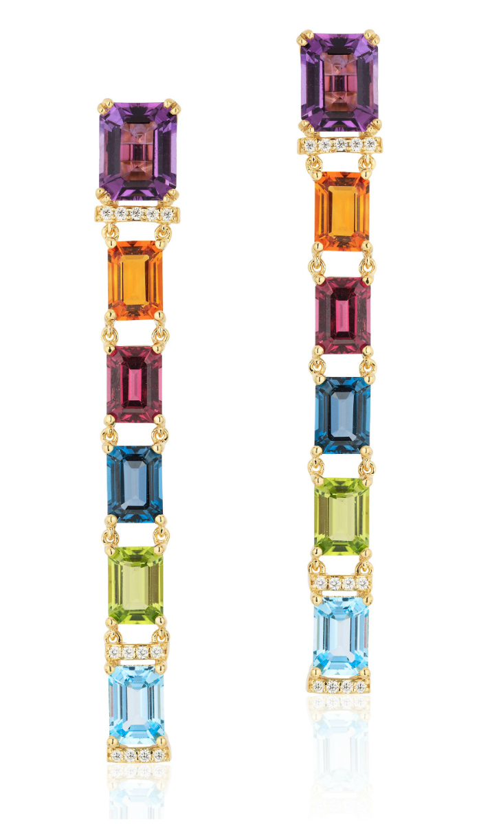 Long and lovely rainbow gemstone earrings by Goshwara.