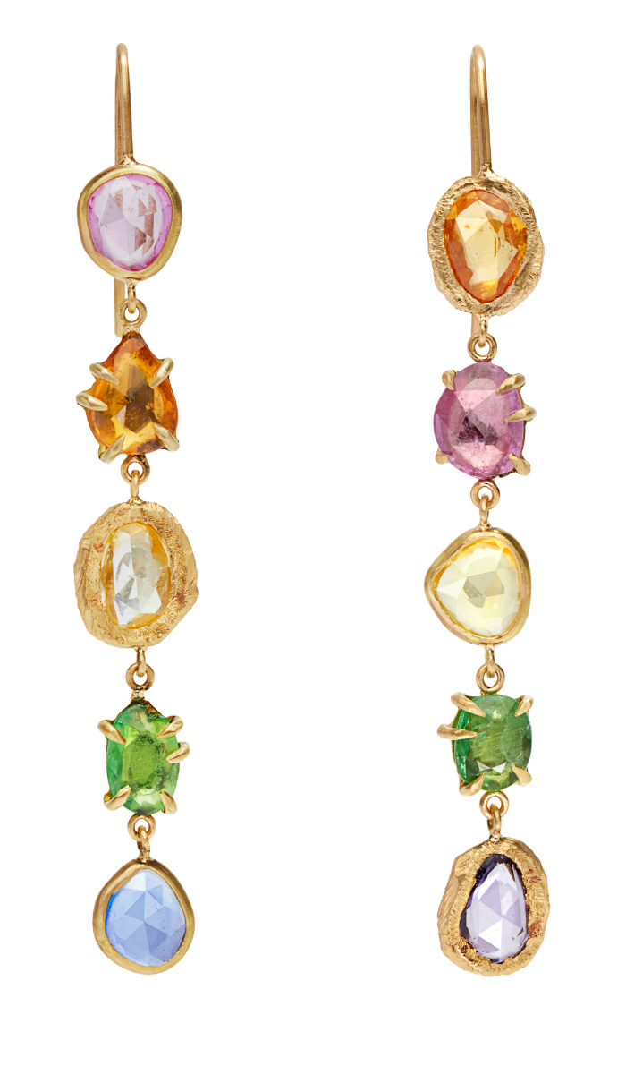 Long and lovely rainbow gemstone earrings byPage Sargisson.