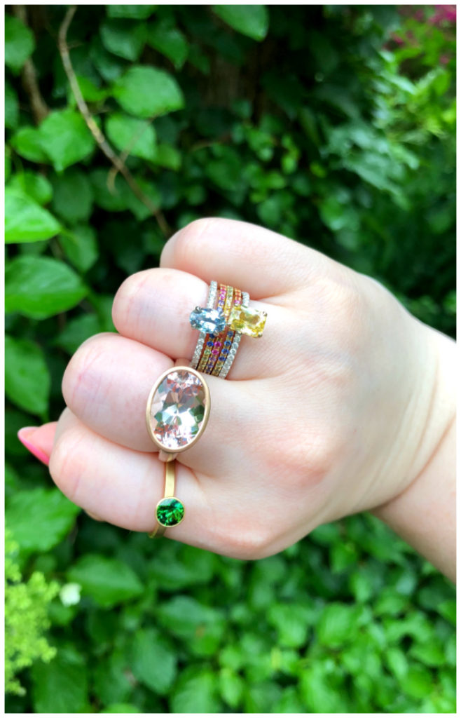 Packing a color punch with a hand full of Kimberly Collins Colored Gems!