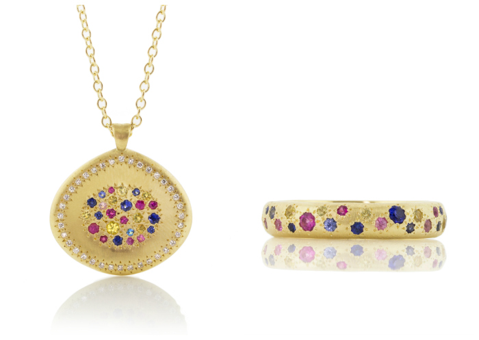 Rainbow jewelry by Adel Chefridi. Multicolored sapphires in gold.
