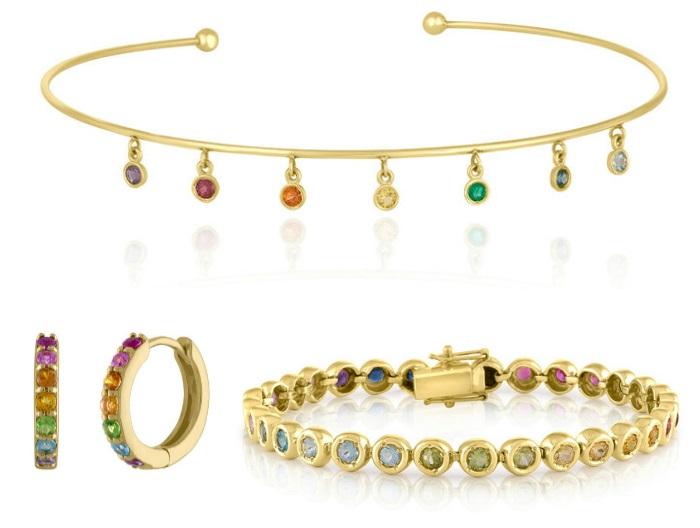 Rainbow jewelry by Kelly Bello Designs.