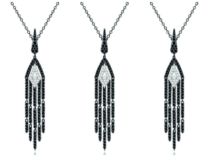 Sutra tassel necklace with white diamonds and 2.5 carats of black diamonds in black and white 18K gold.