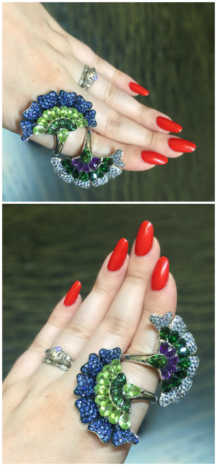 Two glorious gemstone fan rings by Carlo Barberis! I love Italian jewelry design.