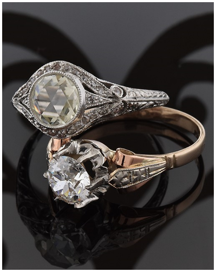 Vintage diamond rings from Joden Jewelry.