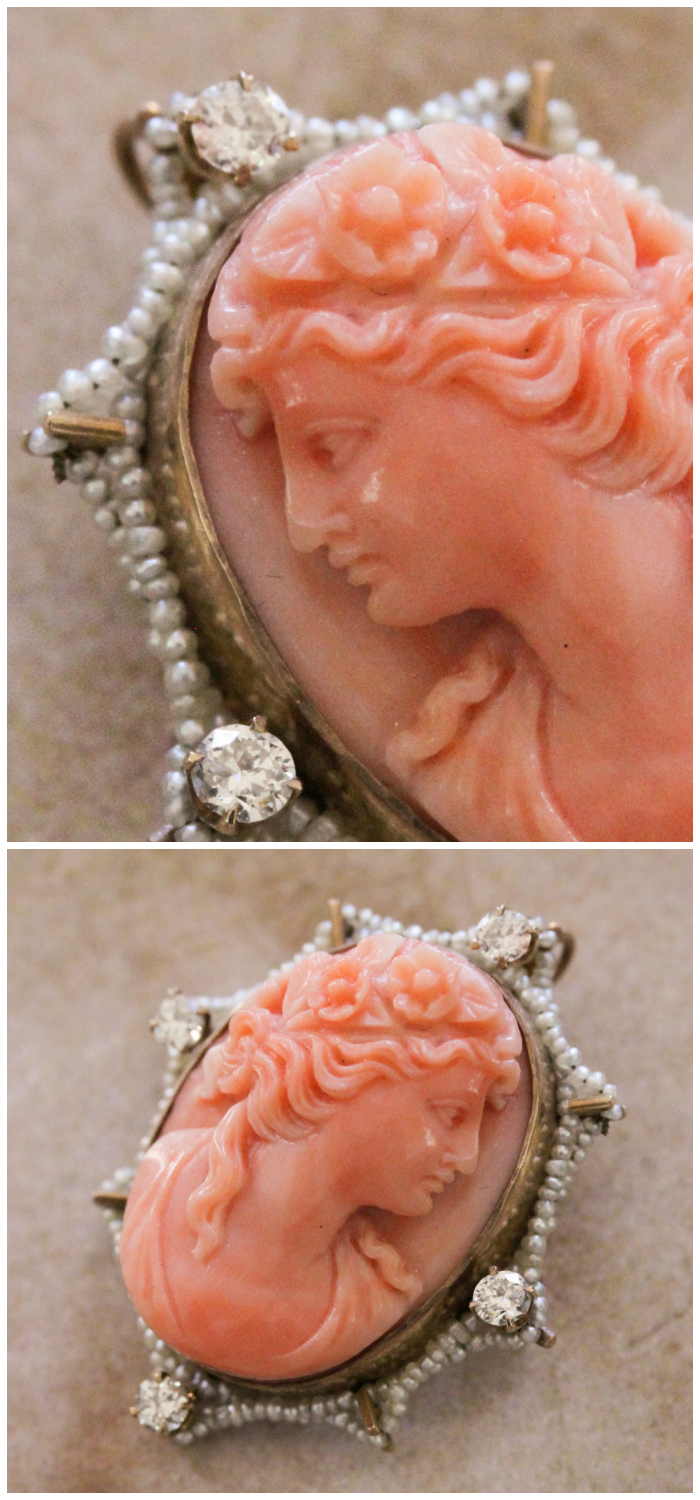 A beautiful antique pink coral cameo brooch pendant from Market Square Jewelers. With pretty little seed pearls and sparkling diamonds.