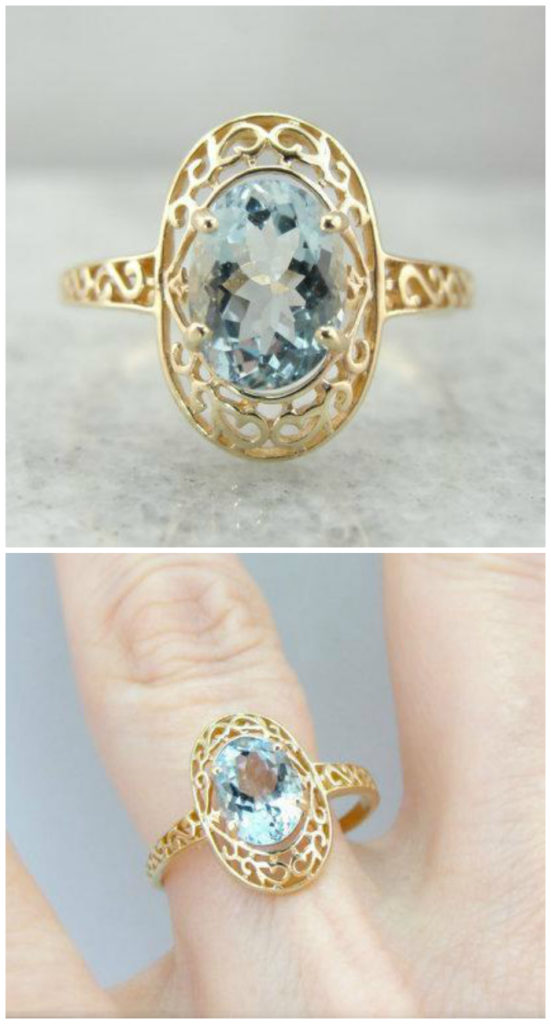 A gold filigree ring with a lovely blue aquamarine stone. From Market Square Jewelers.