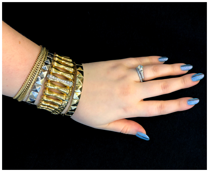 A stack of glorious gold and diamond bracelets by Chimento! Classic Italian jewelry design in action.