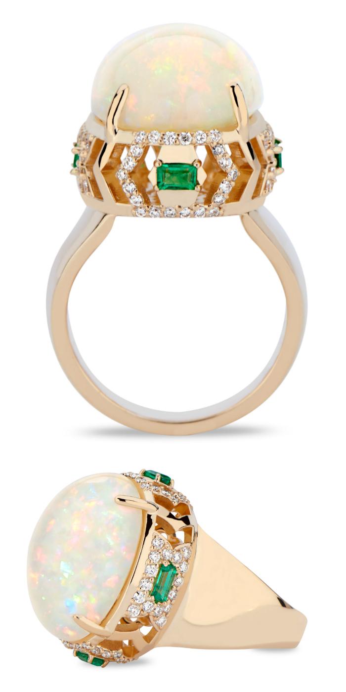 A stunning opal, emerald, and diamond ring by GiGi Ferranti.