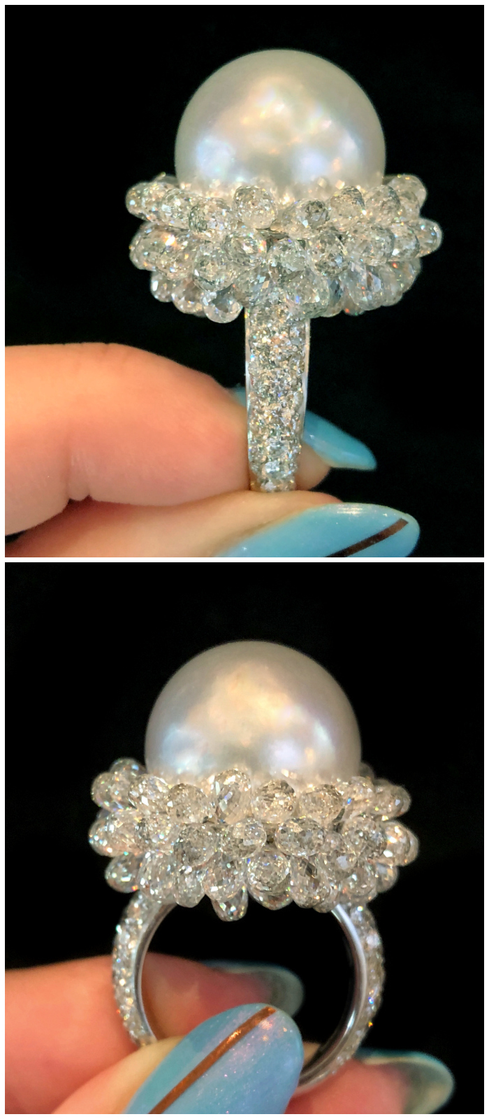 An absolutely incredible pearl and briolette diamond ring by Spallanzani. Extraordinary Italian jewelry design at its best!