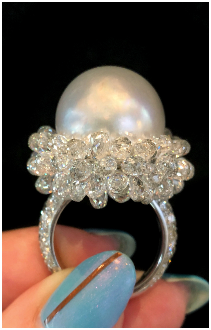 An absolutely incredible pearl and briolette diamond ring by Spallanzani. This is extraordinary Italian jewelry design at its best!