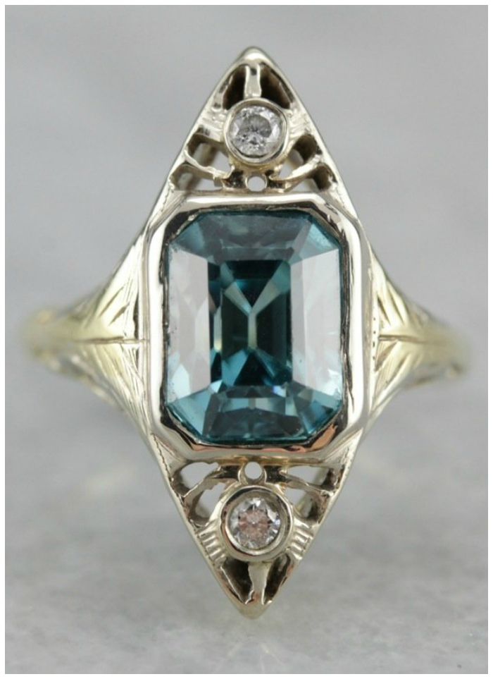 An Art Deco era ring set with a beautiful blue zircon. From Market Square Jewelers.
