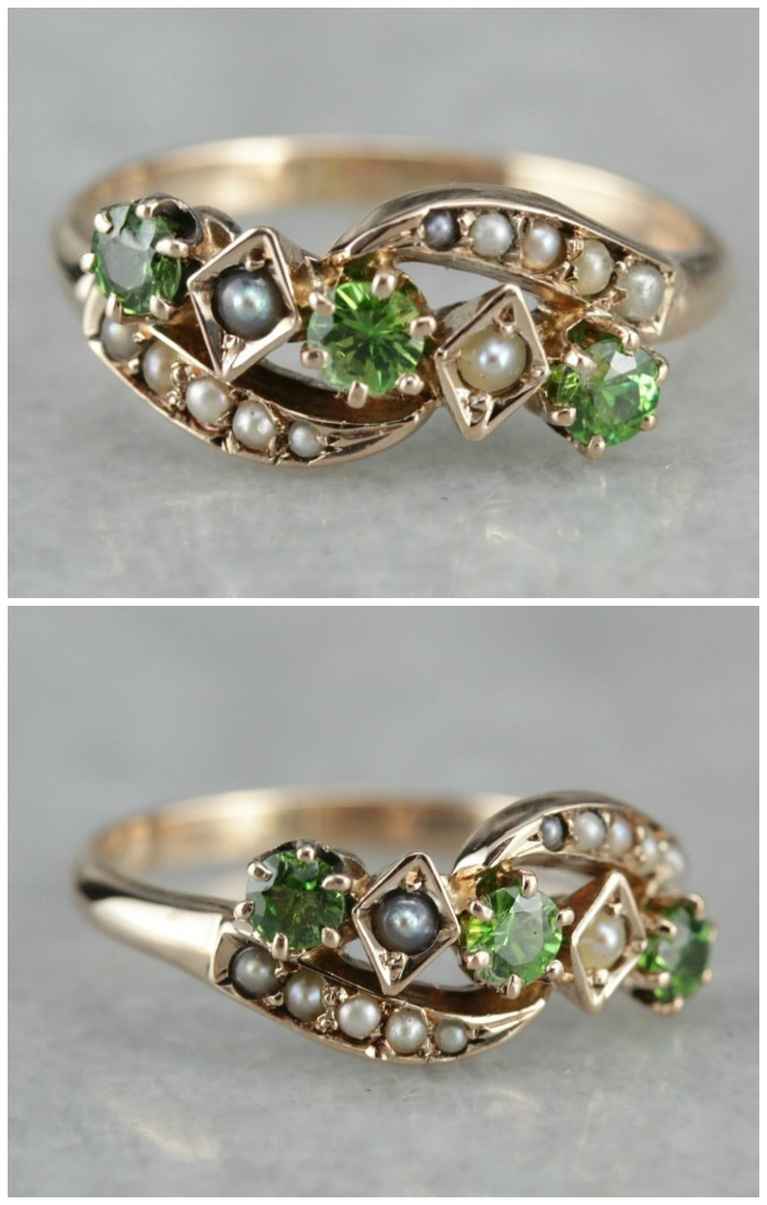 Antique Seed Pearl and Demantoid Garnet Dinner ring from Market Square Jewelers.