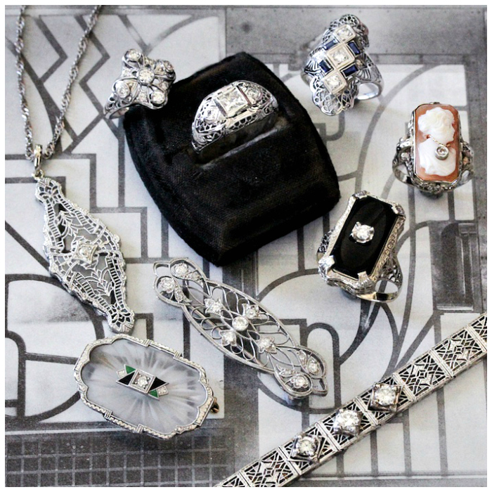 90dd6842c Beautiful antique Art Deco jewelry from Market Square Jewelers! Filigree,  diamonds, and camphor