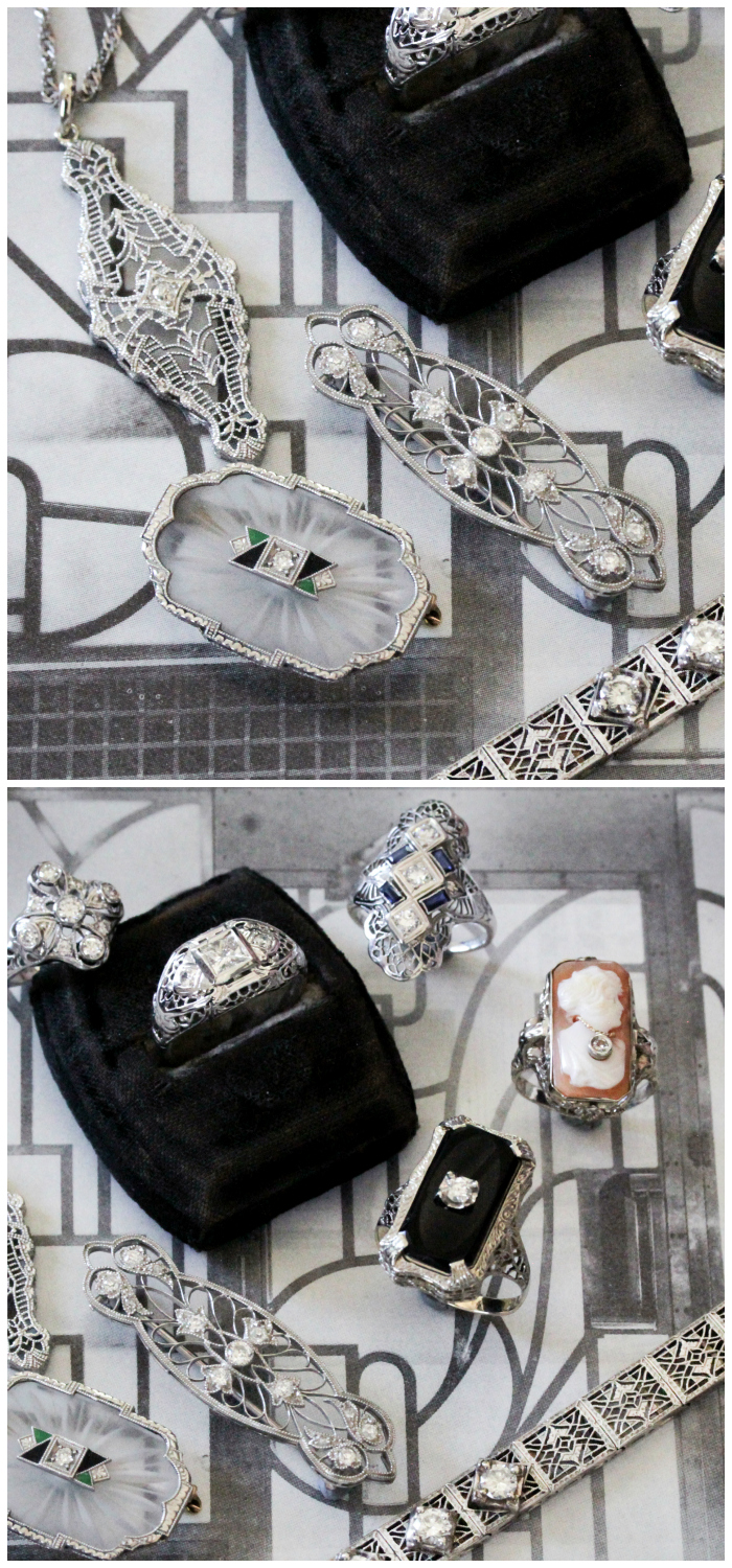 Beautiful antique Art Deco jewelry from Market Square Jewelers! Filigree, diamonds, and camphor glass.