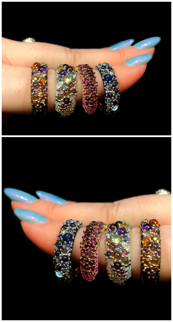Cabochon gemstone rings from Mattioli's candy collection!! Such wonderful examples of Italian jewelry design.