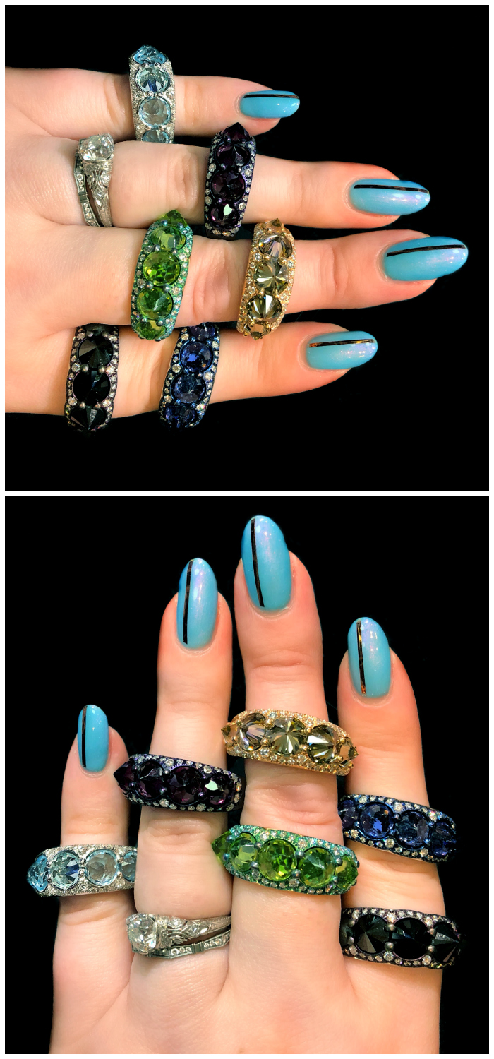 Glorious jewels by Mattioli! I love the reverse set stones in these rings. Badass and beautiful.
