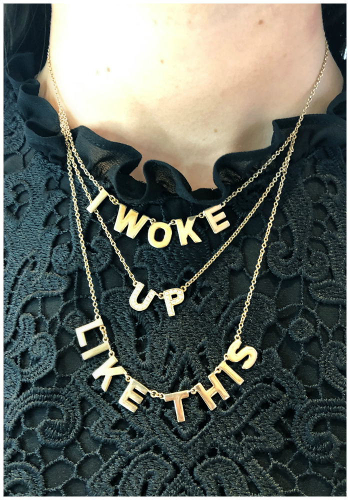 I woke up like this!! I love this necklace by Spallanzani. Gold with diamonds.