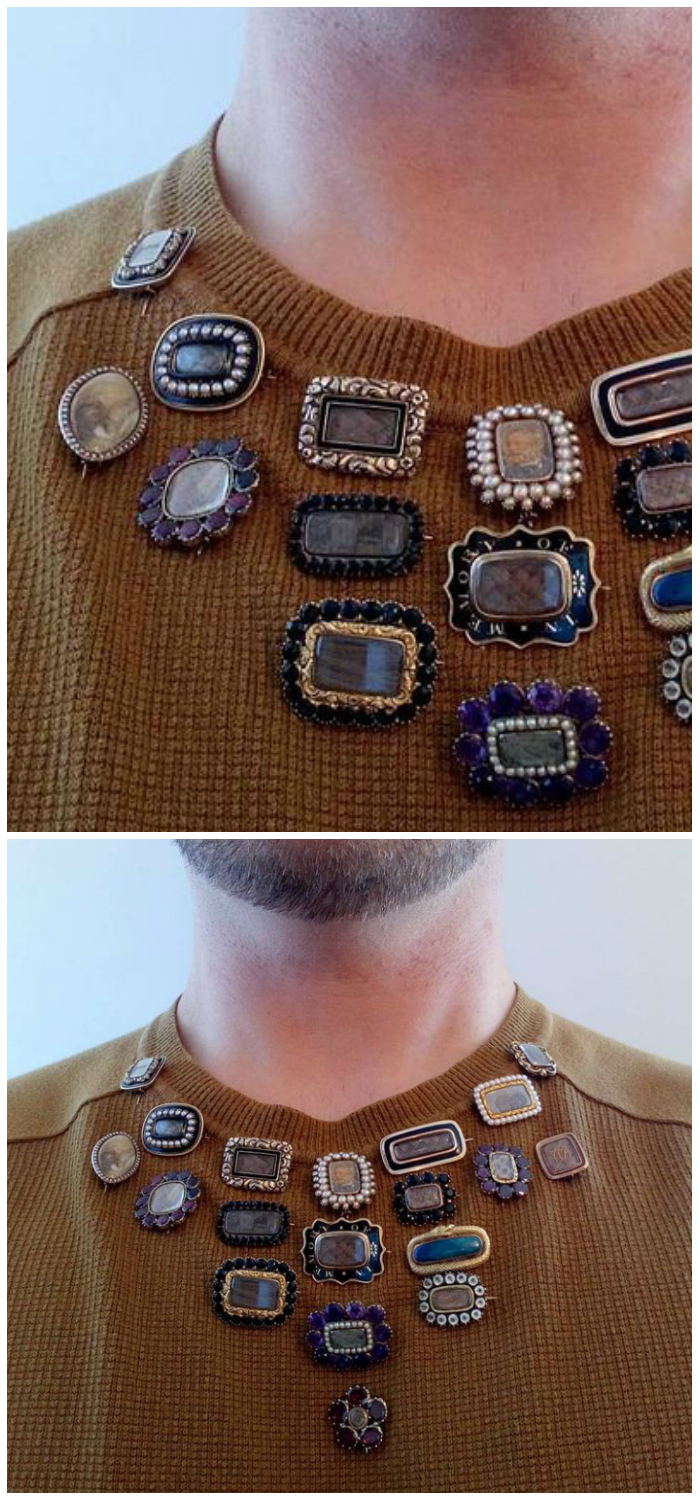 Jewelry Instagrammer LeMarquisdeMahieu displaying his incredible Georgian mourning brooch collection.