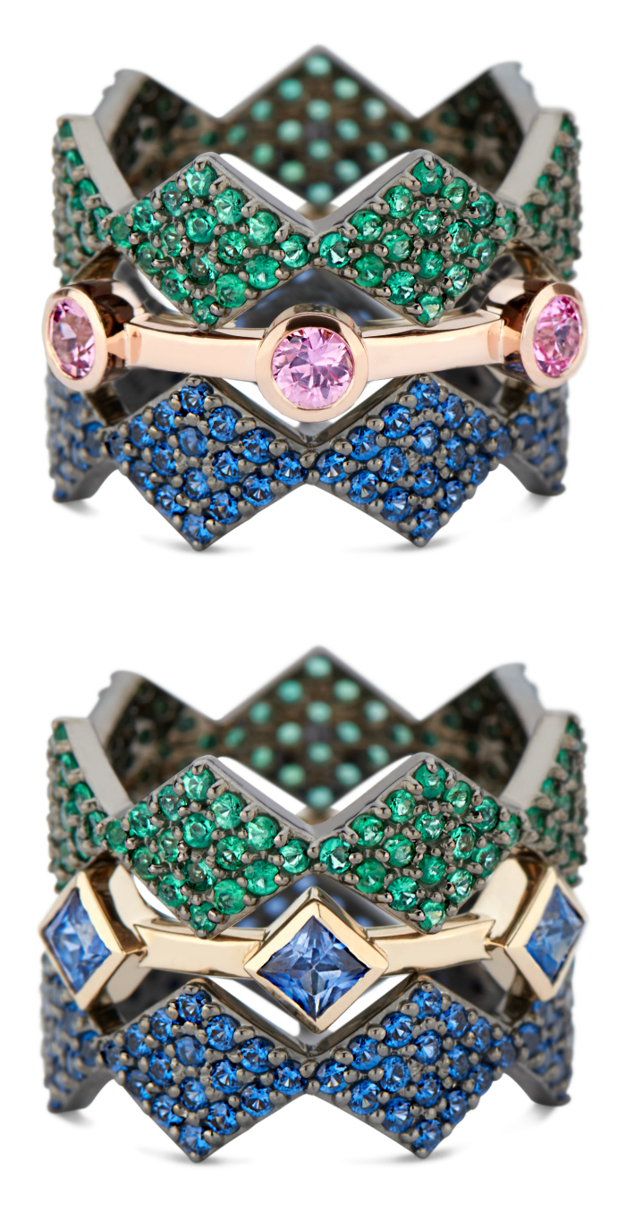 Lucia stacking rings by GiGi Ferranti! In gold, rose gold, or black rhodium with diamonds and gems.