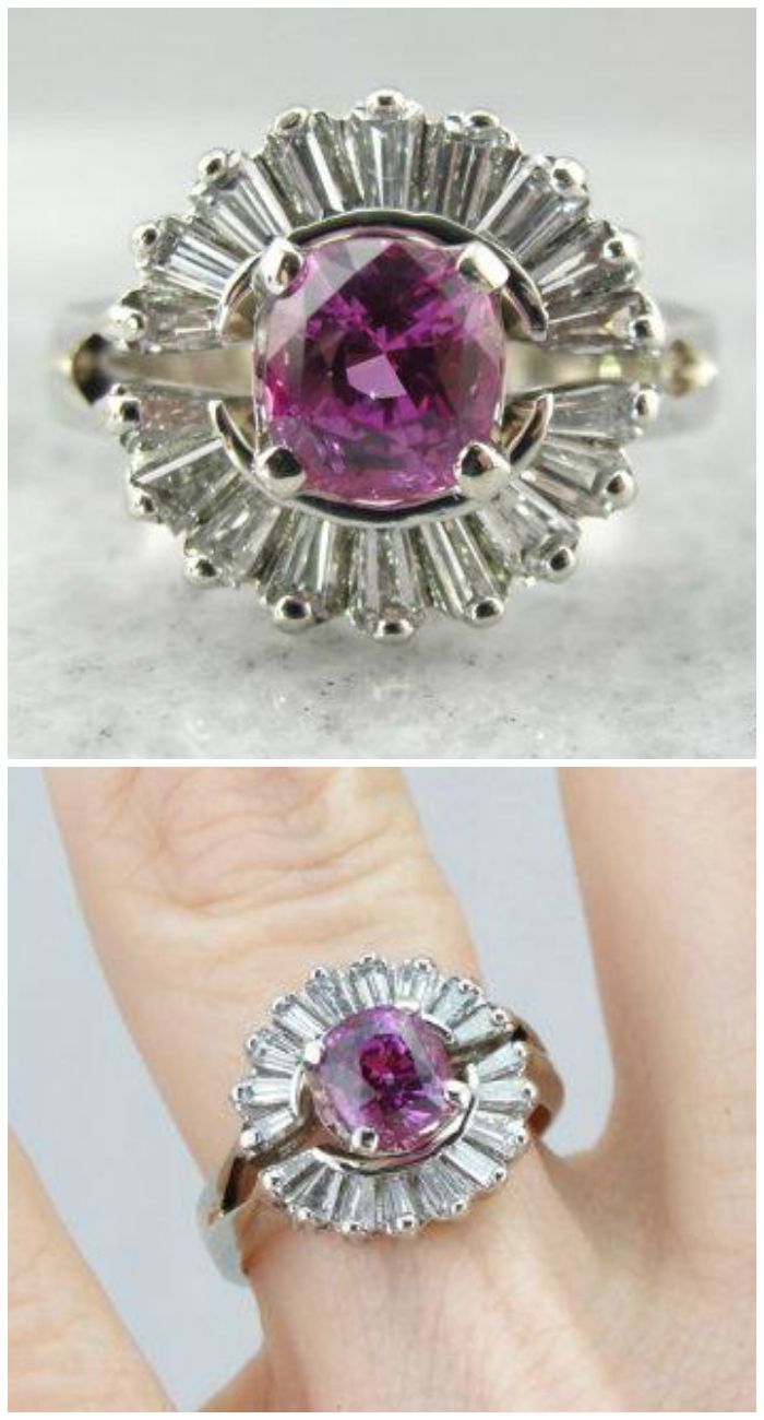 Pink Sapphire Cocktail Ring of exceptional quality. This beauty is from Market Square Jewelers. I think it would make an exquisite engagement ring.