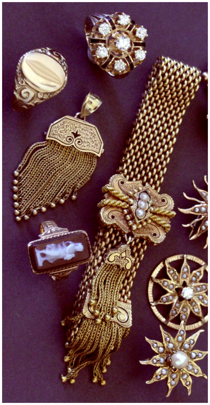 Some of the beautiful yellow gold Victorian jewelry from Market Square Jewelers! This shop has the most incredible selection.
