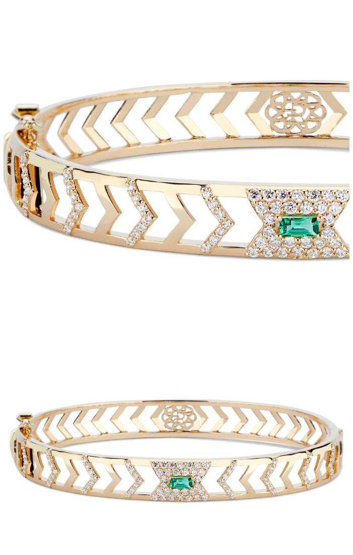 The Gia Deco bracelet by GiGi Ferranti! With emerald and diamonds in gold.