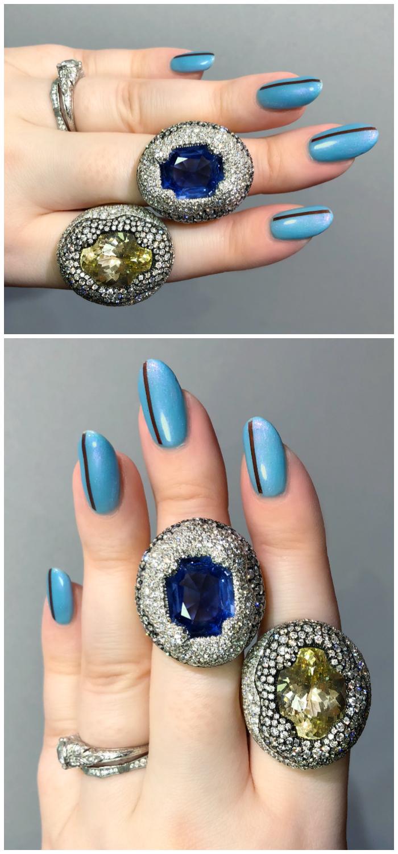 Two beautiful gemstone and diamond rings by Antonini Milano!! One of the extraordinary Italian jewelry brands I saw in Las Vegas!