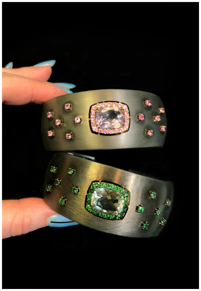 Two beautiful gemstone cuff bracelets by A & Furst! One of the Extraordinary Italian jewelry brands I saw in Las Vegas.