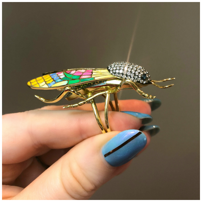 A glorious enamel and diamond ring by Lord Jewelry! The wings are plique a jour enamel.