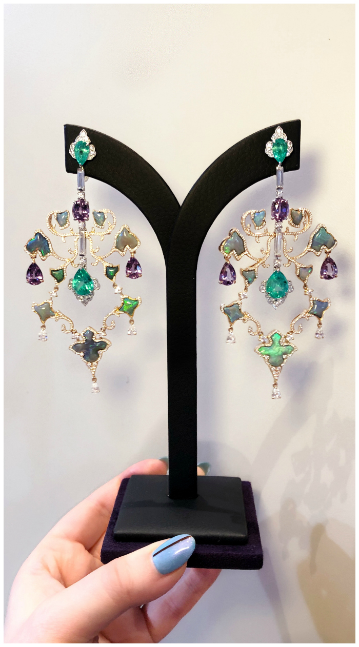 An incredible pair of gemstone and diamond earrings by Alessio Boschi. These convert into pendants or two different pairs of earrings.