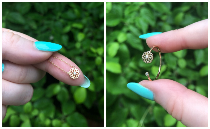 Enter my GiGi Ferranti giveaway to win the mini Sophia flower neckalce or ring! Both yellow gold with real diamonds.