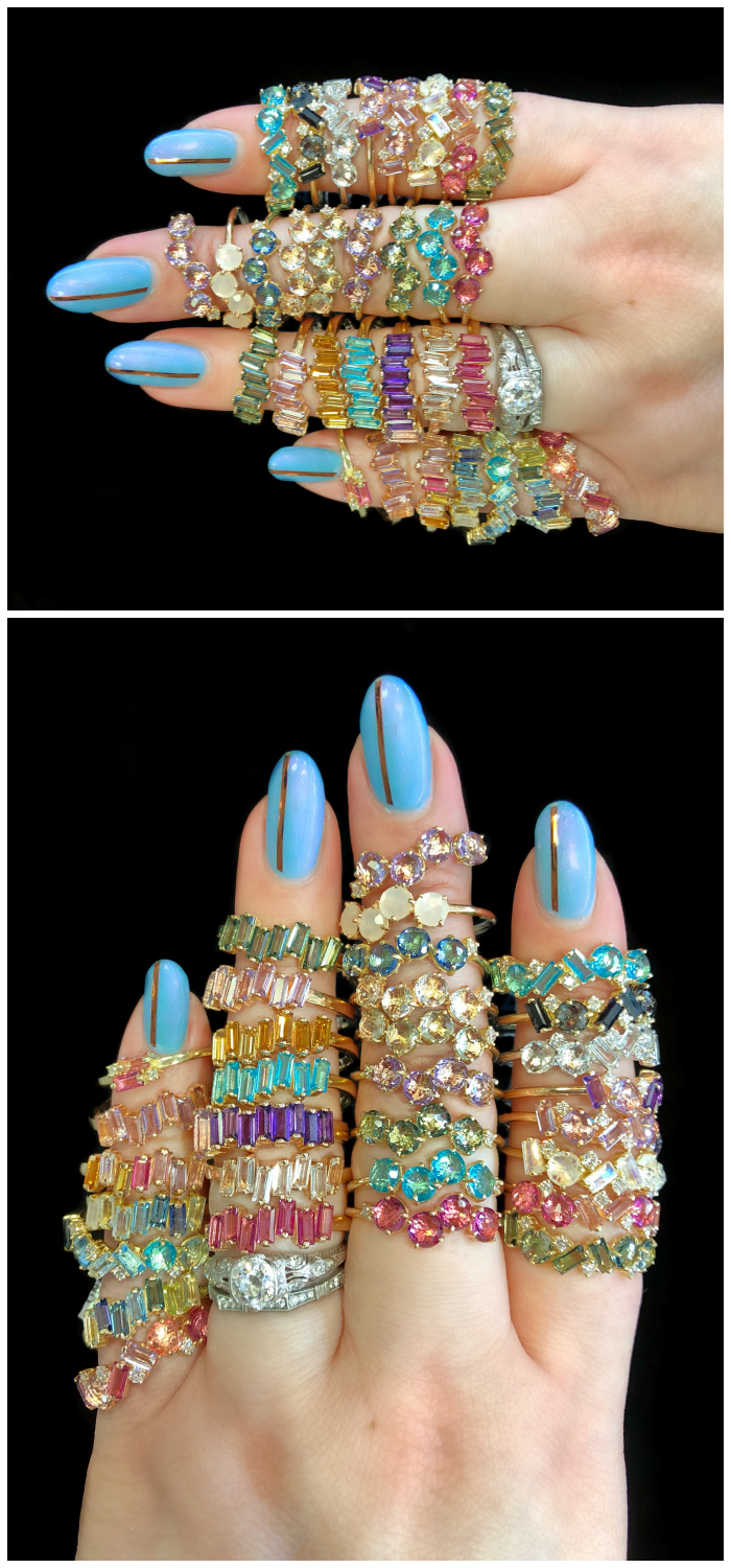 Glorious, colorful gemstone rings from Kalan 14, Suzanne Kalan's 14K gold collection!!