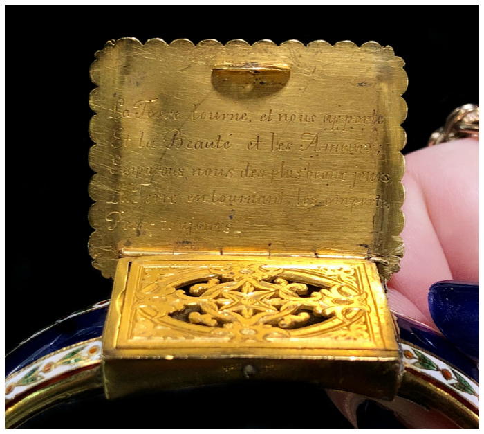 The French inscription from the inside of a stunning antique locket bracelet from Jane Fletcher's collection!