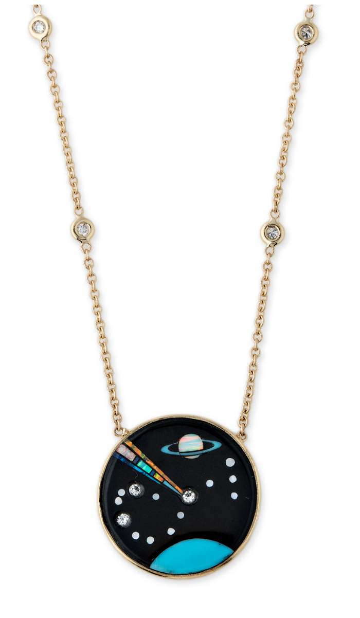 A gemstone inlay pendant from Jacquie Aiche's Galaxy collection!! Turquoise, opal, diamonds, and more.