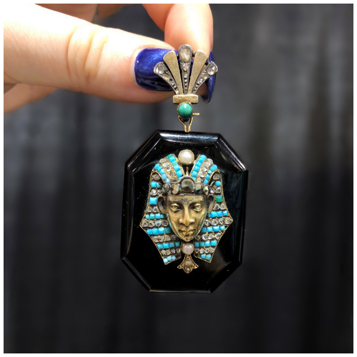 A glorious antique Egyptian Revival locket! With turquoise and pearls. Spotted at Maryanntiques.