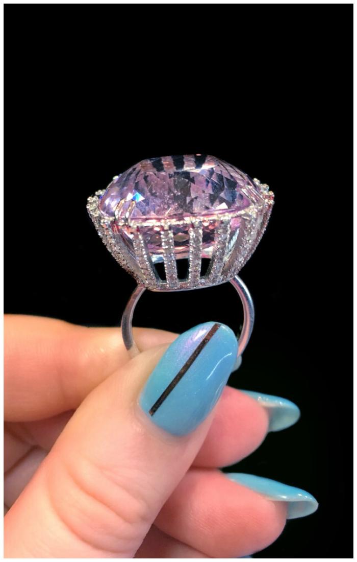 A magnificent kunzite and diamond ring by Karma El Khalil.