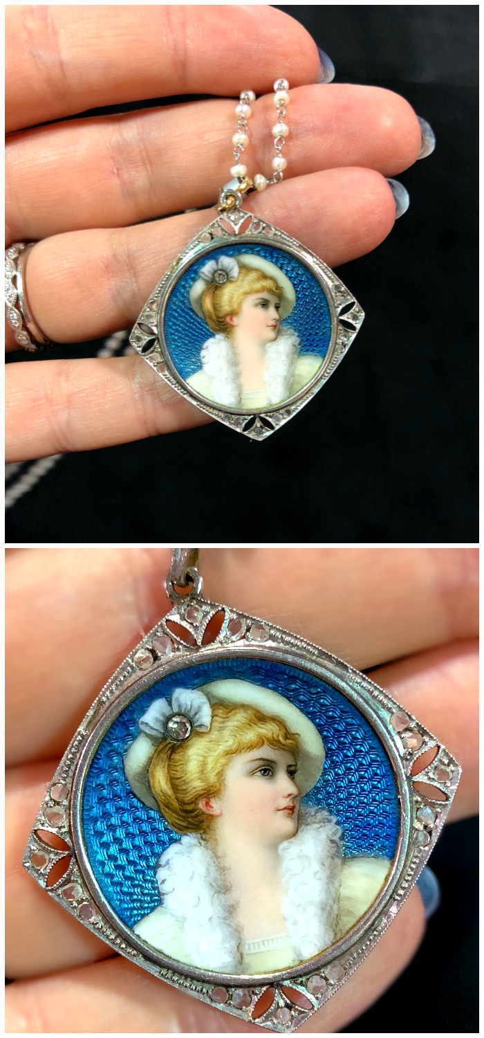 An exquisite antique Edwardian era portrait locket from Excalibur, spotted at the 2018 Original Miami Beach Antique Show