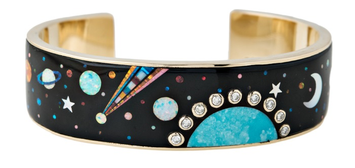 Gemstone inlay cuff bracelet from Jacquie Aiche's Galaxy collection! Turquoise, opal, diamonds, and more.