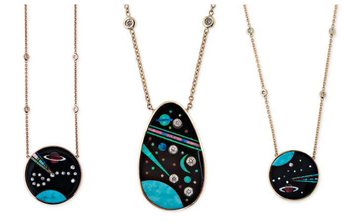 Gemstone inlay necklaces from Jacquie Aiche's Galaxy collection! Turquoise, opal, diamonds, and more.