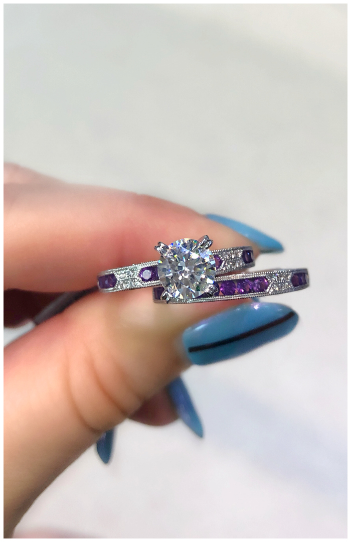 I love this amethyst and diamond wedding set by Kirk Kara! This engagement ring and wedding band are perfect together.