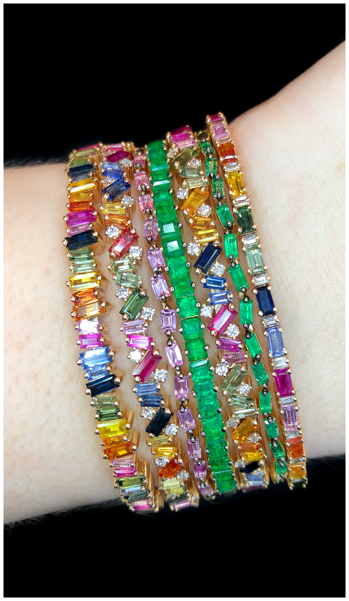 Incredible bracelets by Suzanne Kalan!! Rainbow gemstones and emeralds, sprinkled with diamonds. So good.