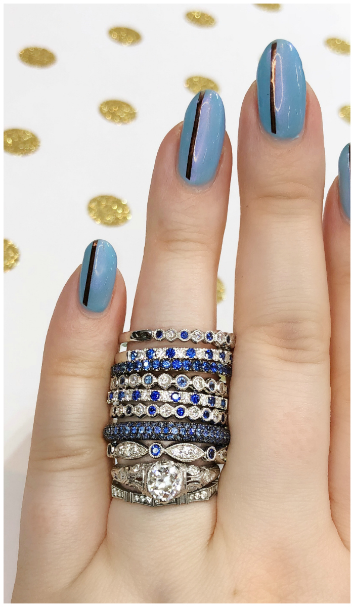 Sapphire and diamond stacking bands from Sylvie Collection!! I love these wedding bands or just pretty rings.