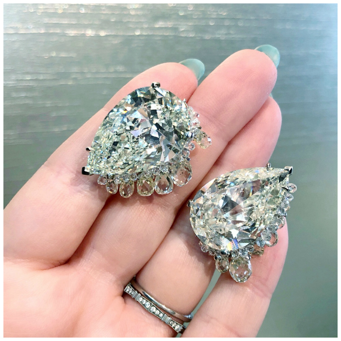 The most incredible diamond earrings! Those pear cuts are 20 carats each. From Fred Leighton.